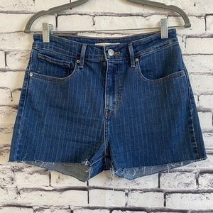 Levi's High Rise Pinstripe Cuff-off Shorts Size 30